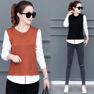 Real shot 2017 Korean stitch knitting female sets of fake two sets of sweaters women shirt shirt sweater women 9029