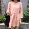 526 # real shot South Korea small fresh college wind V-neck pocket eight-point sleeve doll dress