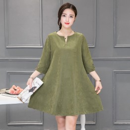 0819 plus size simple color dress