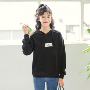 Korean fashion simple printing students black hooded women sweater 9169 #
