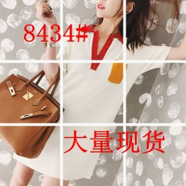 8434 loose short sleeve POLO collar knitted dress
