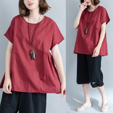 Large size women flax art simple waist shrink loose loose casual bat bat shirt 8791 #