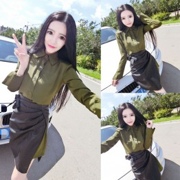 4347 ladies long slim shirt with fashion personality package skirt