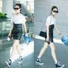 528 black leather skirt high waist A-line irregular skirt