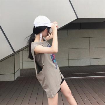 Korean fashion students sleeveless T-shirt printing vest 2107