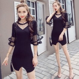 7136 lace perspective horn sleeve fashion nightclub sexy dress