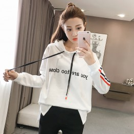 6089 hooded casual fall long sleeves wide open sweatshirt