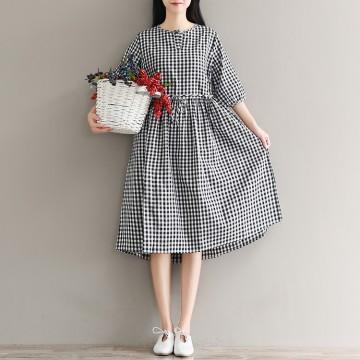1929 real shot 2017 autumn sen female retro buckle text lattice loose large size cotton and linen dress skirt