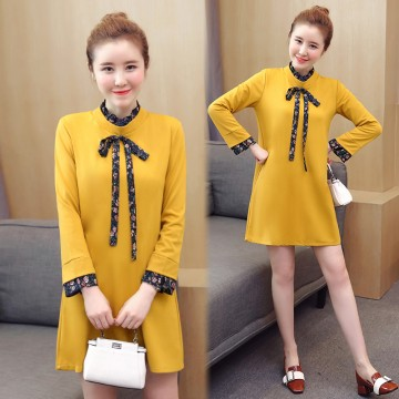 2017 autumn new bow tie with Korean fashion pregnant women dress 8282 #