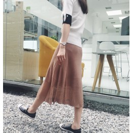 6149 early autumn high waist slim thin knitted ice silk half umbrella skirt