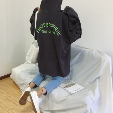 254 chic Korean fashion hooded loose letters printed sweatshirt