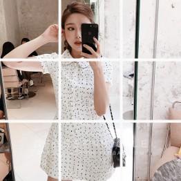 1143 white dot ladies temperament dress