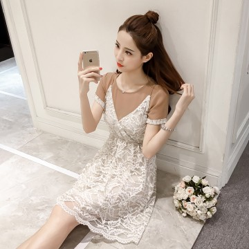 7191 # Korean loose short sleeve T shirt + lace harness dress fairies two sets