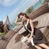 1265 # (real shot) fight color sleeveless vest dress