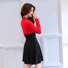 2633 autumn new lady contract color cheongsam collar dress