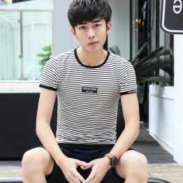 6304 men 's printing stripes short sleeve T - shirt