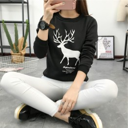 8479 cartoon big size plum deer printing students thickening sweatshirt