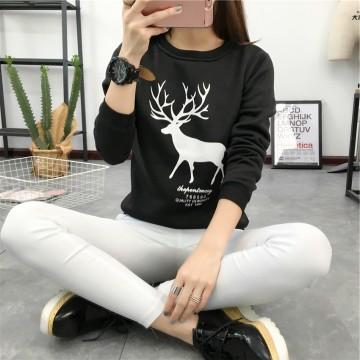 8479 autumn and winter cartoon big size plum deer printing students thickening sweatshirt