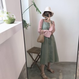 563 Korean fashion chic gallus dress with loose t-shirt two pieces