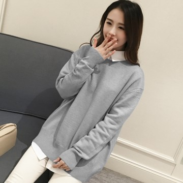 2216 # 2017 Autumn Korean fashion simple color loose large couple BF wind knitted sweater