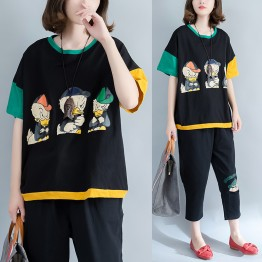 Large size women thin cotton comfortable cartoon printing spell color leisure loose T-shirt 8797#
