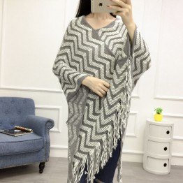 801 large size wavy pattern knitting cloak shawl