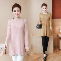 912 large size loose long pregnant knitted sweater
