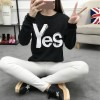 8501 YES pattern loose large size thicken wool lovers sweatshirt