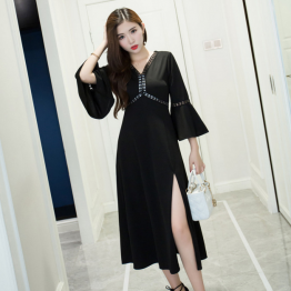 8816 seven points sleeve V collar retro Slim dress