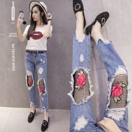 2833 Holes roses net socks jeans nineth pencil pants