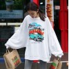 7126 # Korea 2017 personality bat sleeve loose handsome letters girl wind casual t-shirt