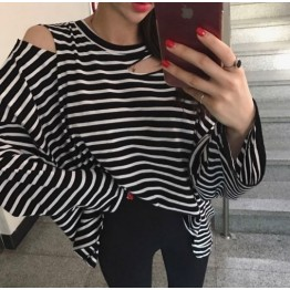 8104 Korean style simple striped loose long sleeve T shirt