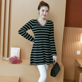 8048 plus size women's stripes v neck knit dress