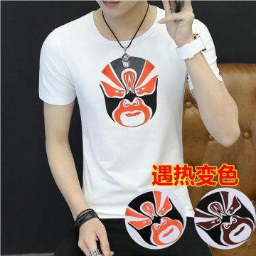 620 Chinese wind color changing printing short sleeve T shirt