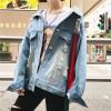 2017 autumn Korean denim jacket short heavy embroidery long sleeve motorcycle jacket