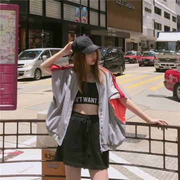 795 # 2017 new real shot gr breathable breathable fabric ribbon sunscreen loose jacket vest jacket