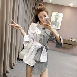 125 Irregular lace splicing long stripes shirt