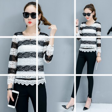 6210 spring and autumn long sleeves hollow lace shirt