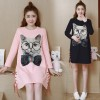 1602 # maternity dress autumn dress Korean loose cotton cat printing pregnant women dress