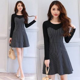 2629 autumn new contract color stripes slim dress