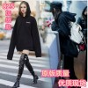 825 Spring and Autumn long oversize hedging black hooded letters bf wind loose sweater