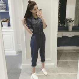 836 women's long sleeve high waist denim jumpsuit