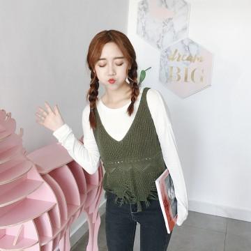 513 Fall Tassel Hollow Sling Short Sleeve Knit Sweater Sweater