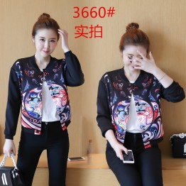 3660  loose long sleeve casual printing baseball  jacket