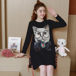 1602 maternity loose cotton cat printing pregnant women dress