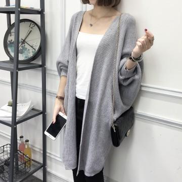 8092 # cardigan women long sweater 2017 autumn new loose bat sleeve pocket sweater coat