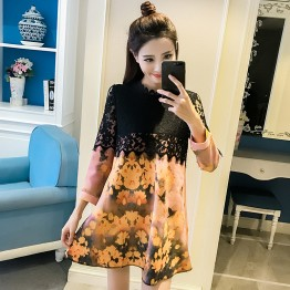150 loose lace splicing printed dress