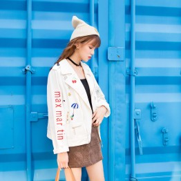 11907 fashion embroidery white short denim jacket