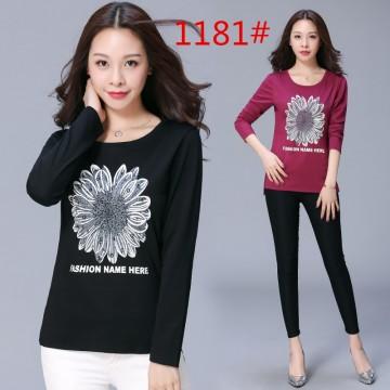 Large size women's autumn new Korean cotton color solid loose long-sleeved women's shirt shirt shirt round neck shirt