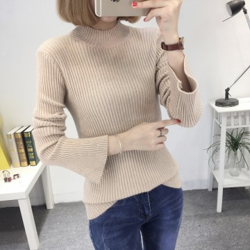 8083 # autumn and winter new was thin semi-high collar sets of sweaters female speaker sleeves long-sleeved wild sweater